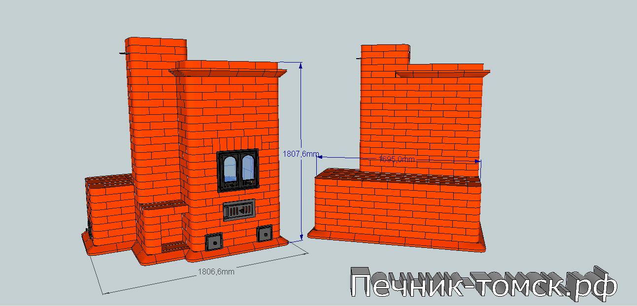 Отопительный комплекс Отопительный камин (печь-камин) и печь-лежанка.